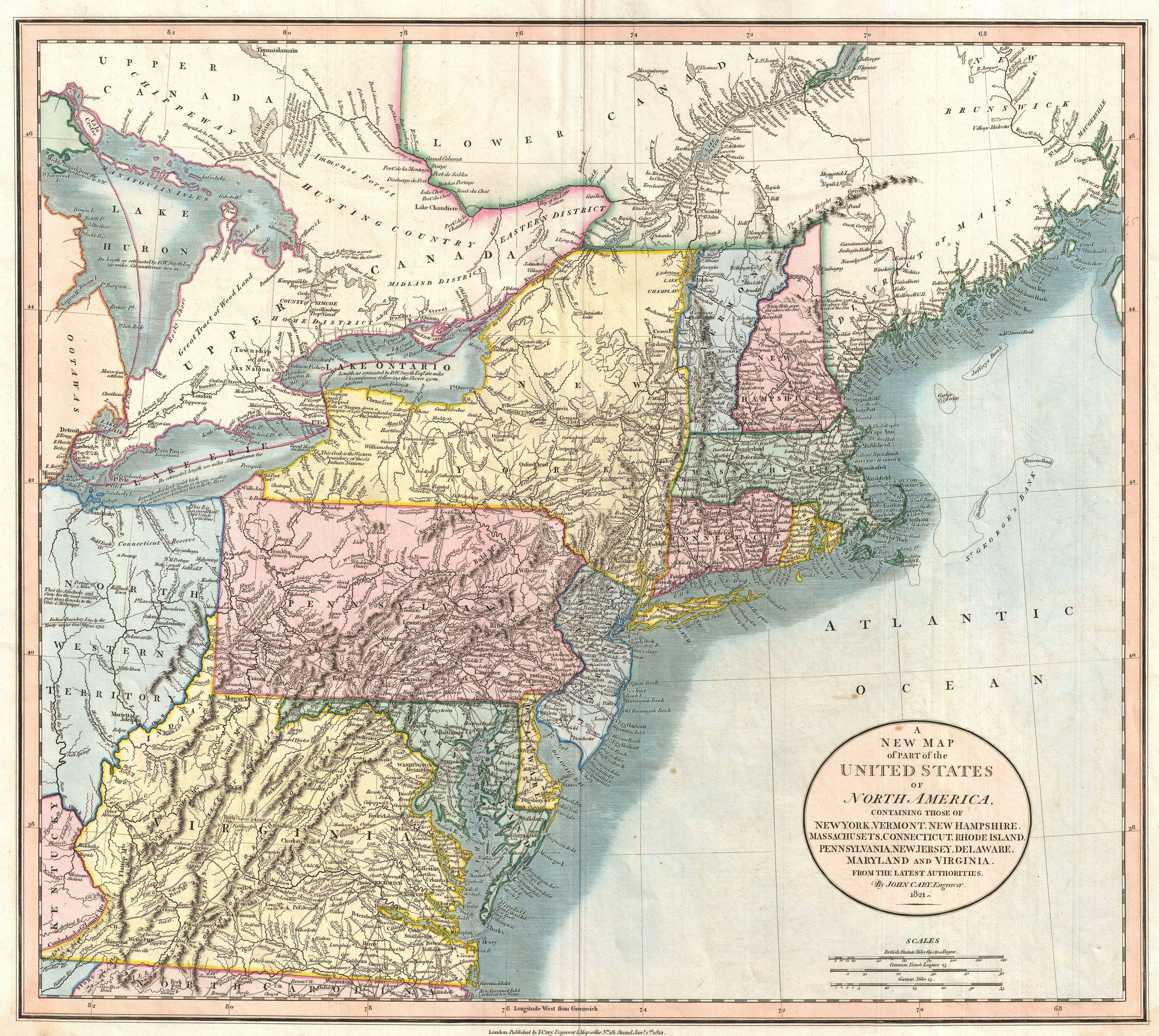 ny state maps with File 1821 Cary Map Of New England  New York  Pennsylvania And Virginia   Geographicus   Newyorknewengland Cary 1821 on Maps likewise Map Of Northern Florida as well Map as well 5284 as well Usa new york.