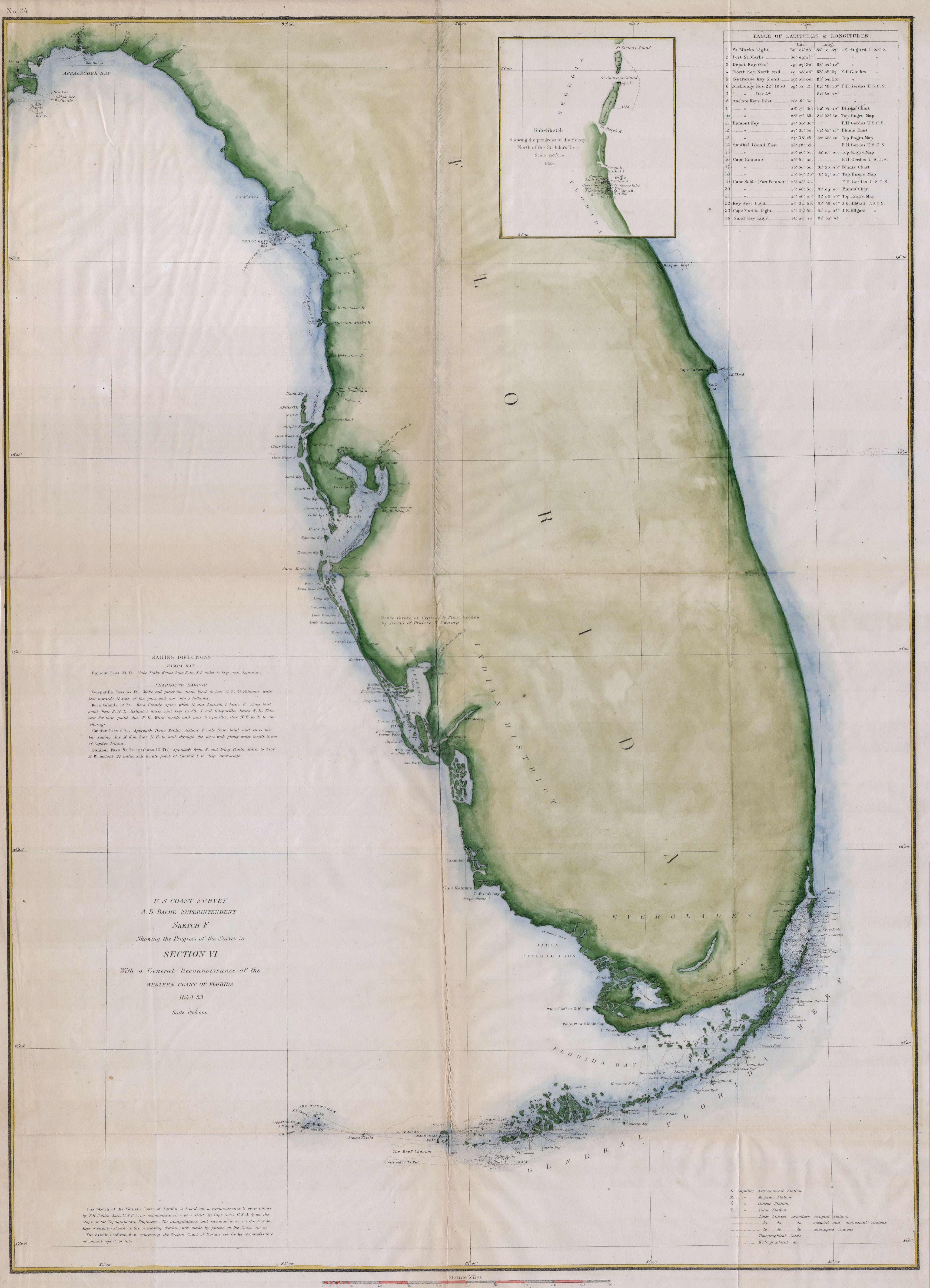 Western Florida Map.File 1853 U S C S Map Or Chart Of Florida Geographicus