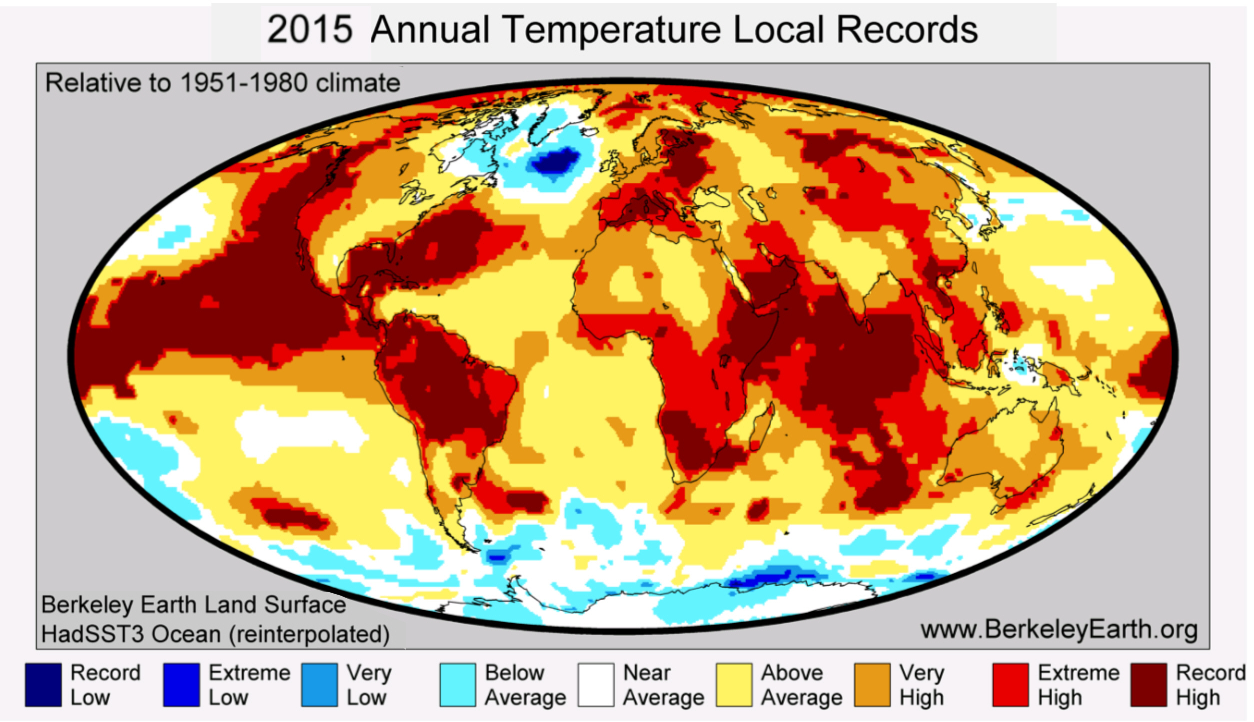 global warming simple english the encyclopedia places that were warmer red and cooler blue in 2015 than in previous average