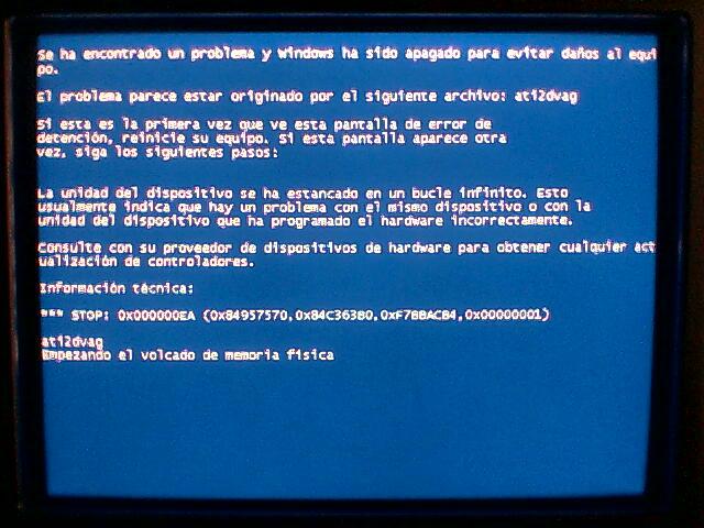 pantallas azules de windows o pantallas de la muerte
