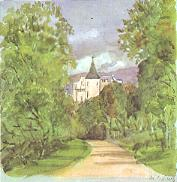 Balmoral Castle, painted by Queen Victoria in 1854 during its construction