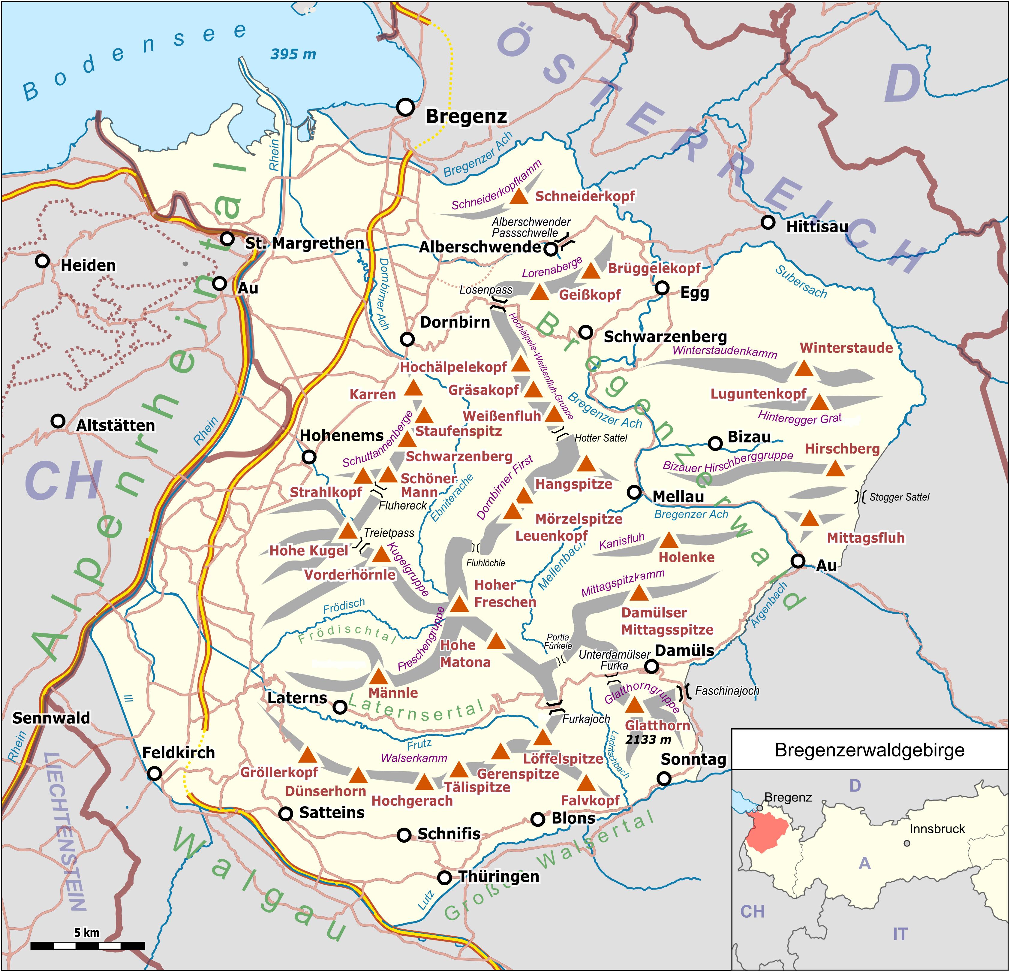 Vorarlberg Karte Berge.Bregenzerwaldgebirge Wikipedia