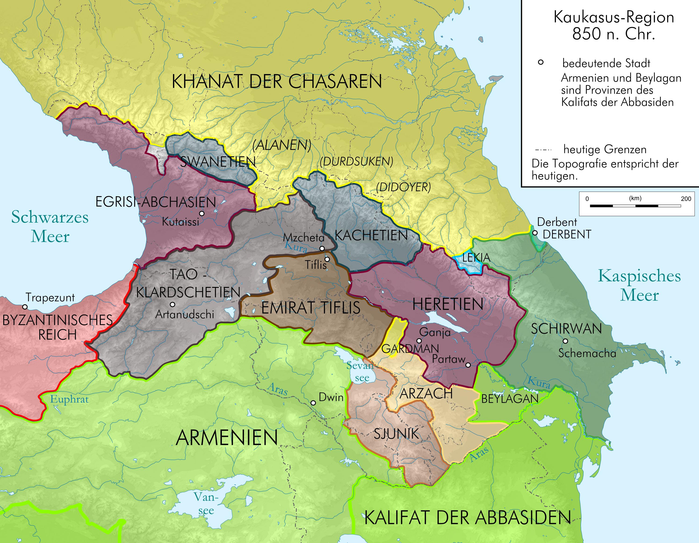 Caucasus 850 map depng Atlas of Georgia