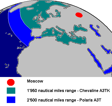 Chevaline patrol limits at 1,950 nautical miles (3,610 km) from Moscow are shown in comparison to the original 'unimproved' Polaris A3T range of 2,500 nautical miles (4,600 km).[5] Not all the sea areas inside the patrol limits are usable for nuclear submarines as they may be too shallow or otherwise constricted. One example would be the North Sea, both as mostly too shallow and also constricted by shipping routes and oilfields. Similarly, the Arctic ice pack limited northwards deployment; and the Black Sea was a no-go area. As far as is known, the British Polaris submarines never deployed into the Mediterranean Sea.