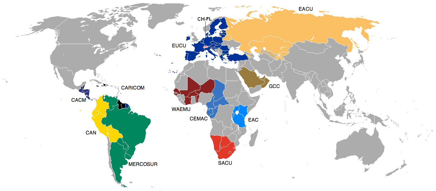 Customs unions worldwide.