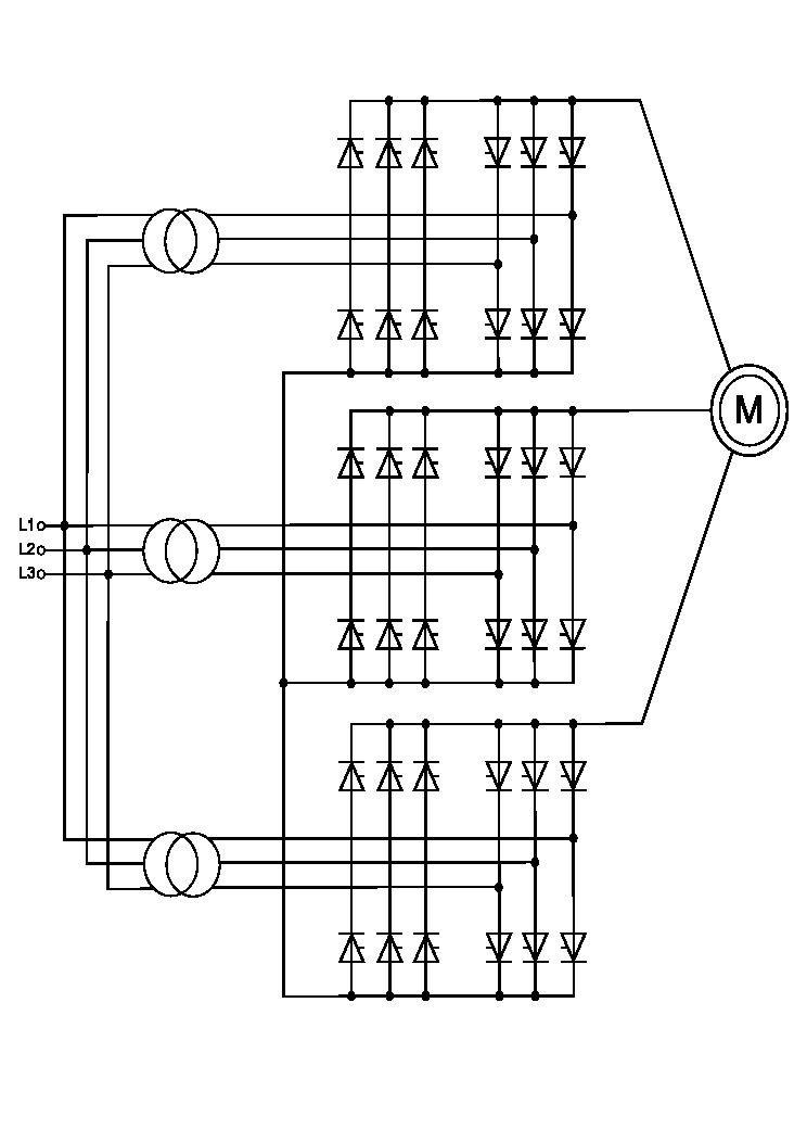 Cycloconverter on Servo Motor Circuit Diagram