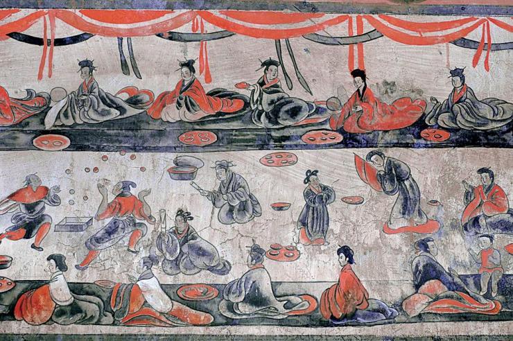 Dahuting tomb banquet scene with jugglers, Eastern Han Dynasty, mural.jpg