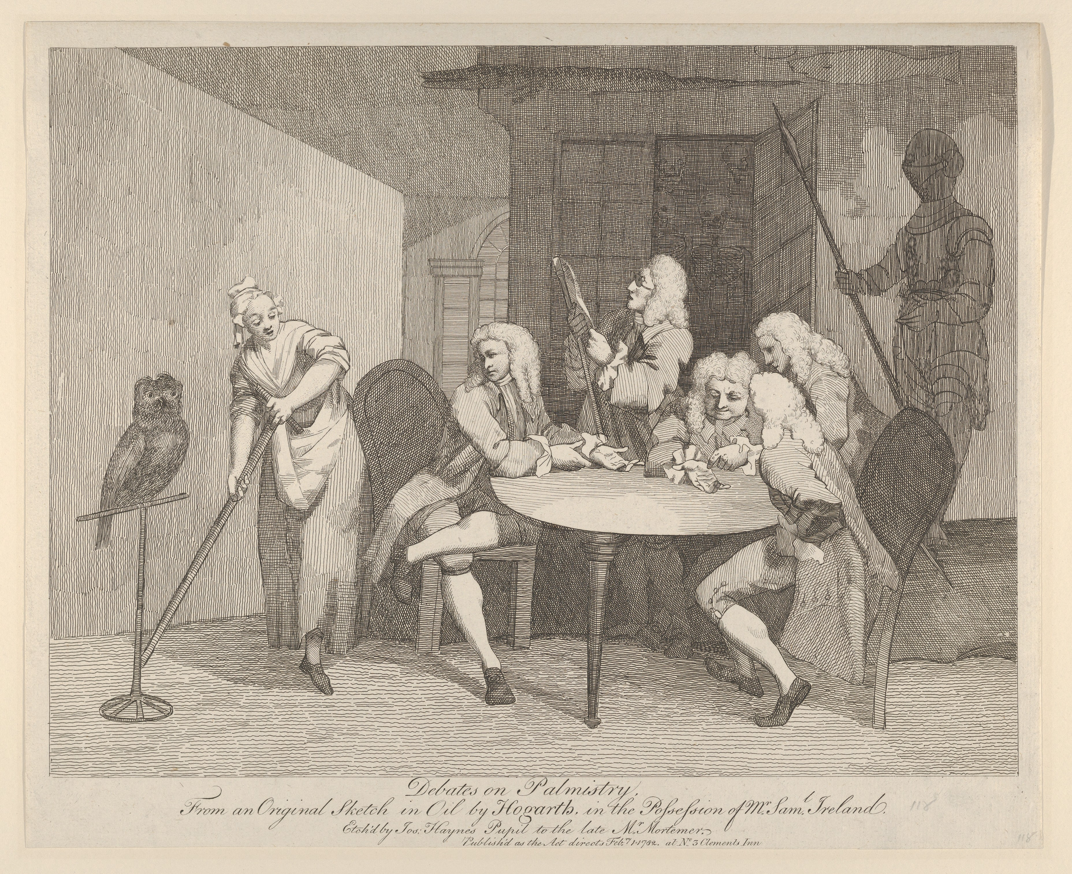 An image of scholars debating palmistry, a popular form of fortune-telling.