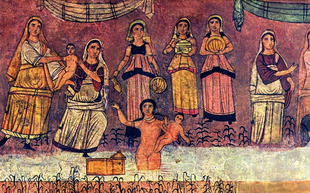 Freska s nalezením Mojžíše v řece