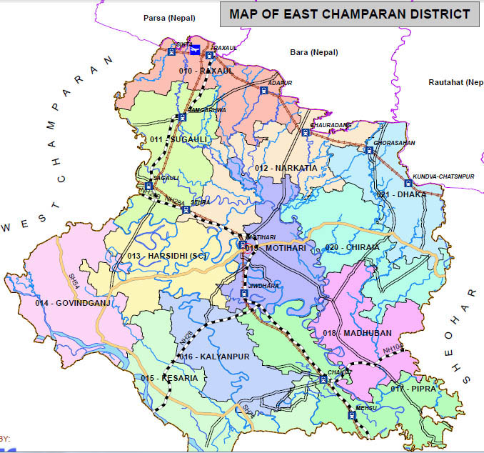 east champaran district bihar assembly elections 2015 constituency map image