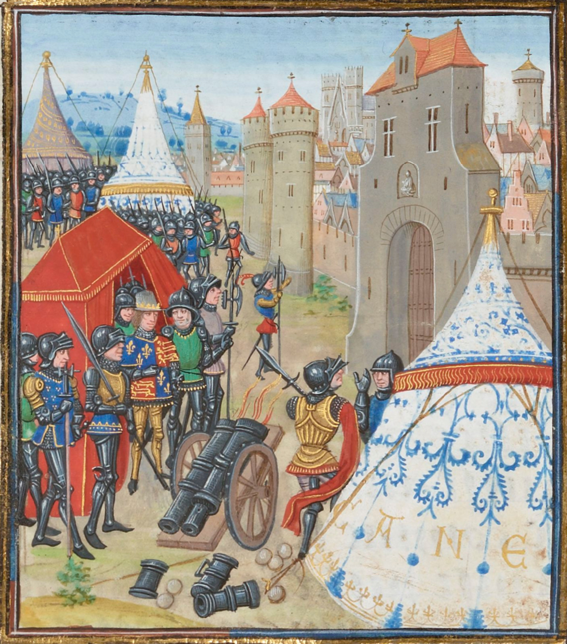 Edward III of England besieges Reims in the Reims Campaign of the Hundred Years' War. The cathedral is visible in the background.