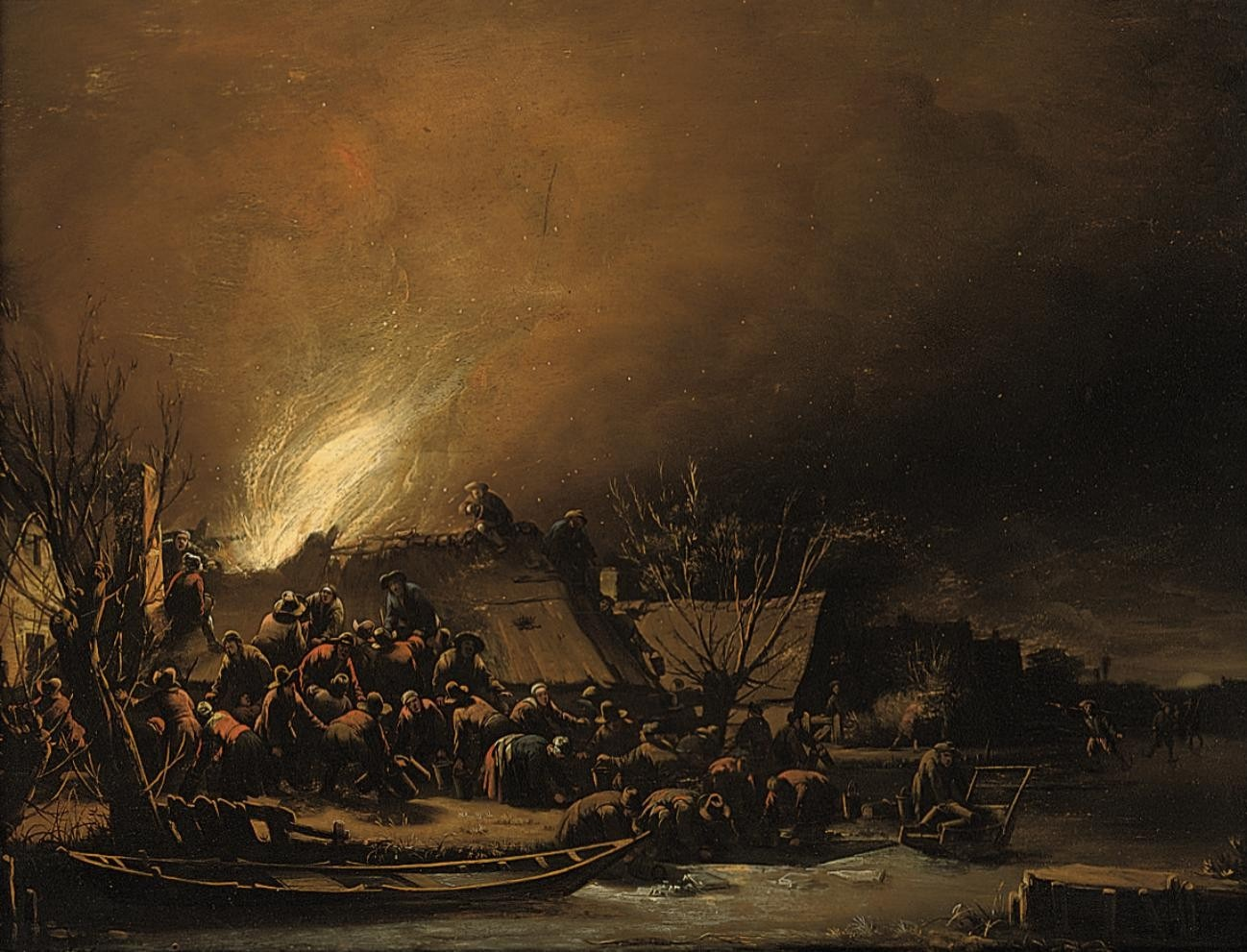 File:Egbert van der Poel - A fire in a village at night (1659