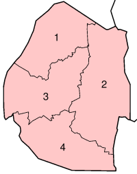 A clickable map of Swaziland exhibiting its four districts.