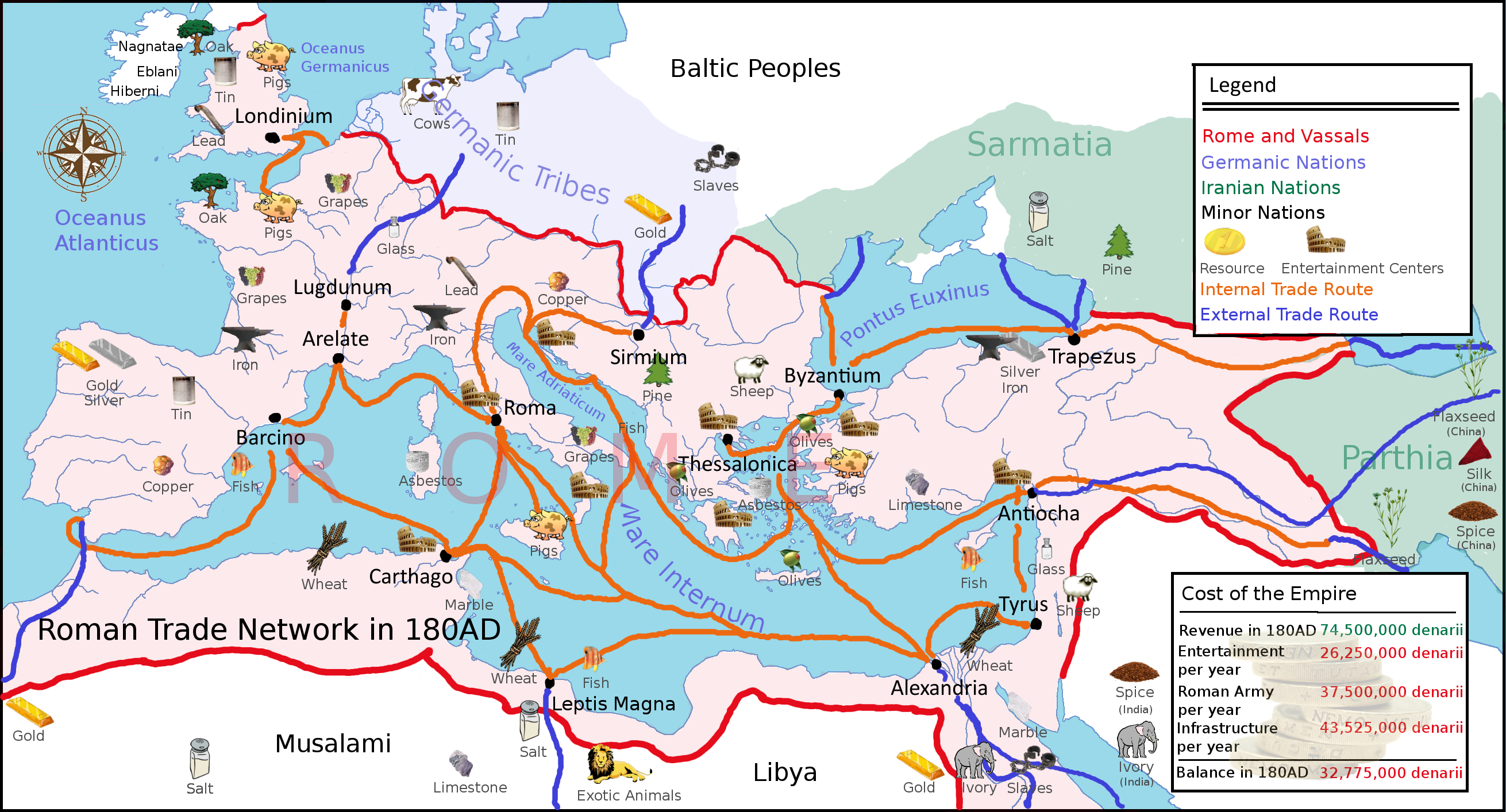 Ancient Trade Routes in Europe Map