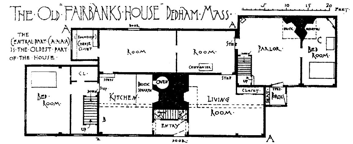 Description Fairbanks House, Dedham - Floor plan.png
