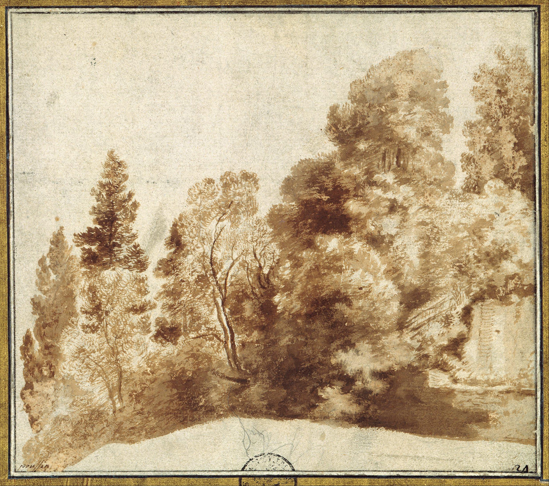 File:Herman van Swanevelt - Group of Trees at a Wall - Google Art ...