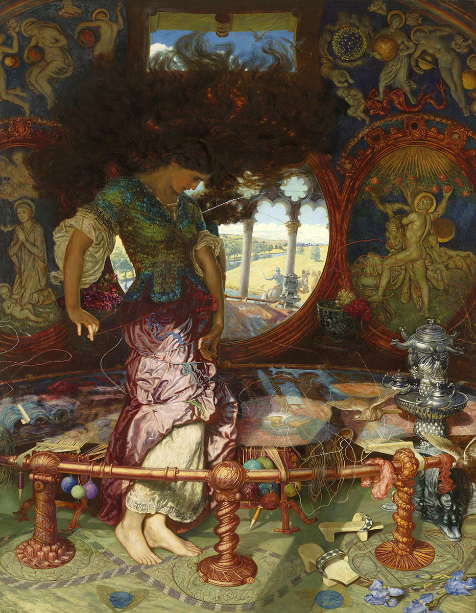 An image of 'The Lady of Shalott' by William Holman Hunt (1889).