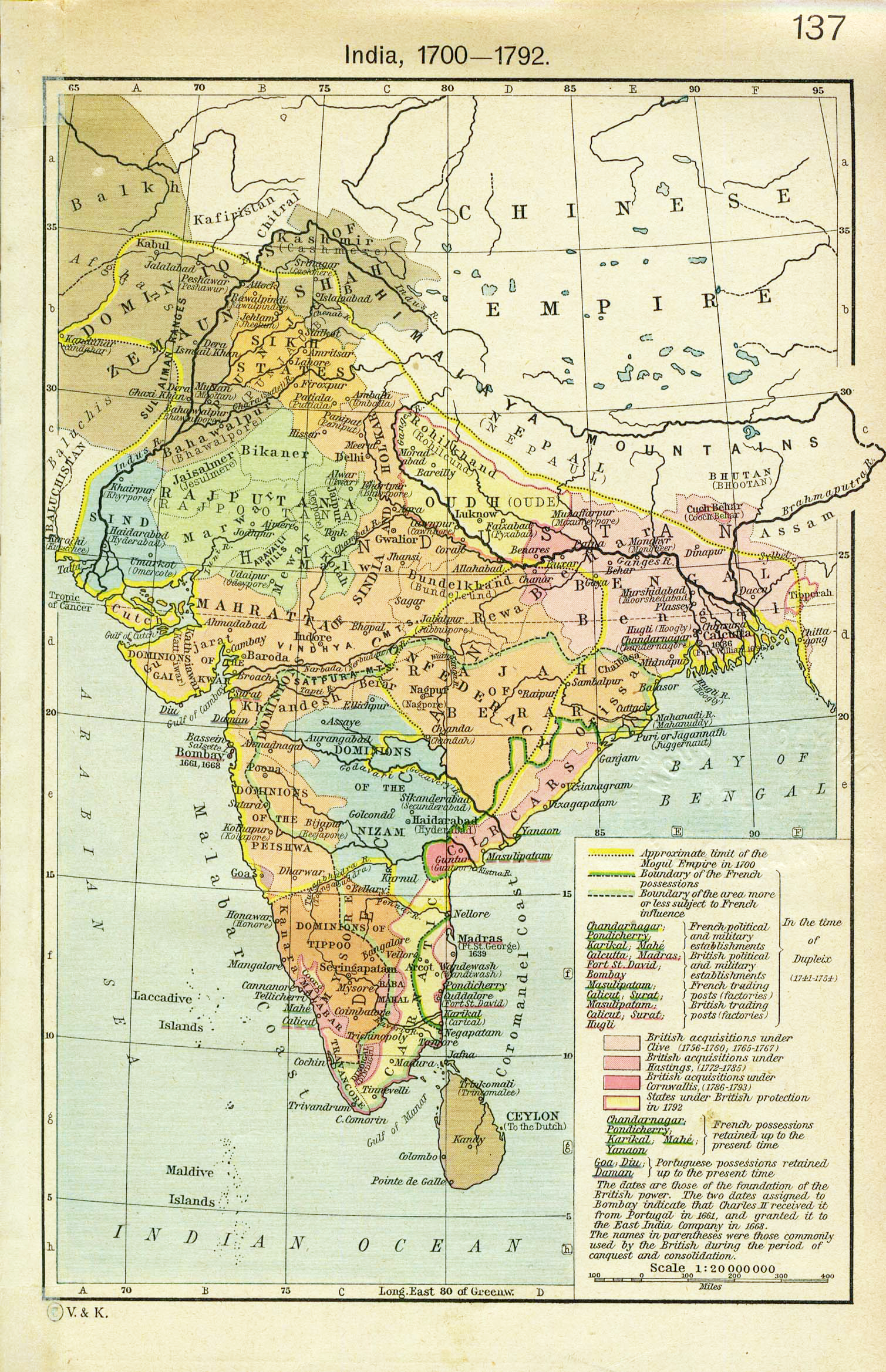 India (1700-1791) - The Historical Atlas by William R. Shepherd, 1923