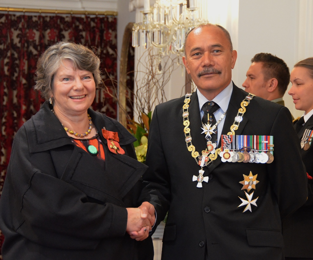Tolerton in 2016, after her investiture as an [[Officer of the New Zealand Order of Merit