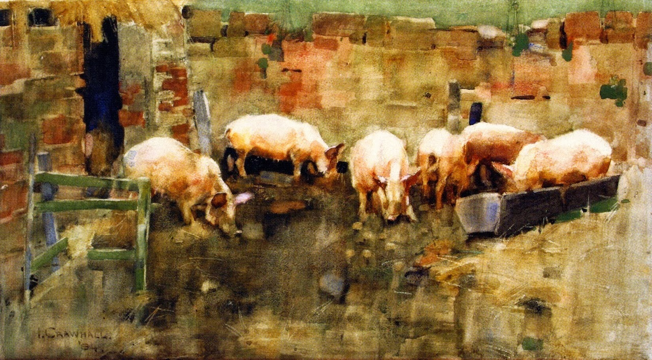 File Joseph Crawhall 1884 Pigs At The Trough Jpg