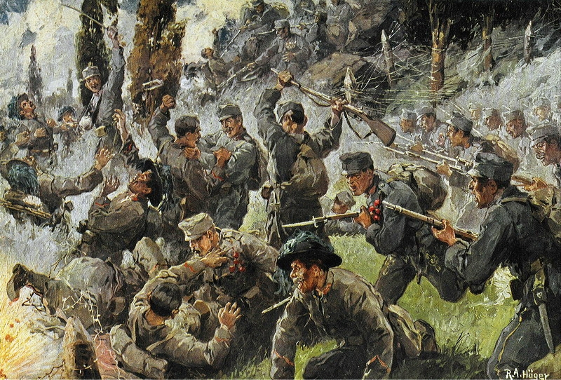 Depiction of the Battle of Doberdò, fought in August 1916 between the Italian and Austro-Hungarian army.