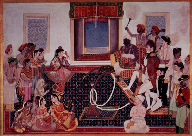 File:Mahadaji Sindhia entertaining a British naval officer and military officer with a nautch.jpg