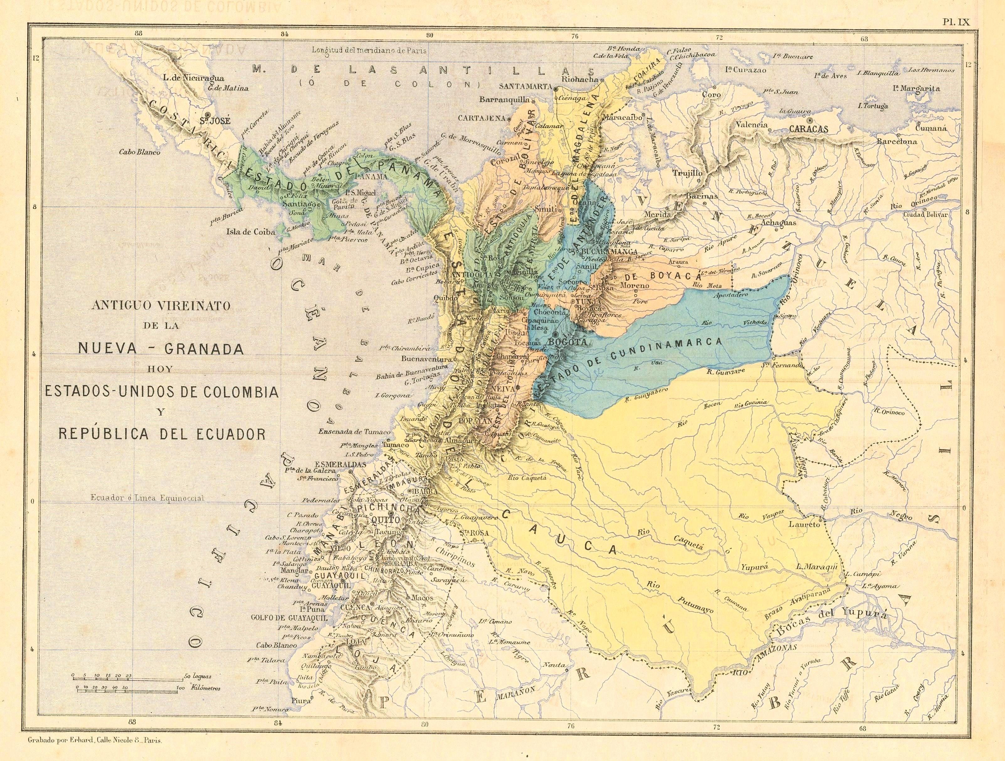 Mapa Estados Unidos De Colombia