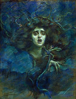 Tableau représentant une tête de femme saisie d'effroi avec des serpents dans les cheveux sur un fond bleu nuit.