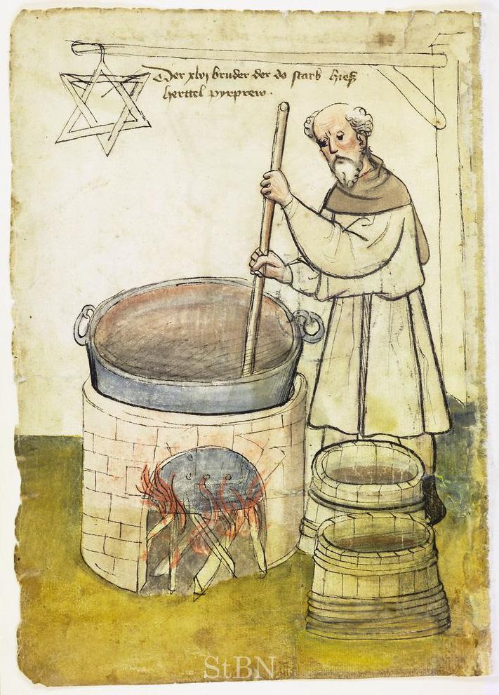 Bierbrauer im Hausbuch der Mendelschen Zwölfbrüderstiftung, um 1425 (Nürnberg, Stadtbibliothek, Amb. 317.2°, fol. 20v.)