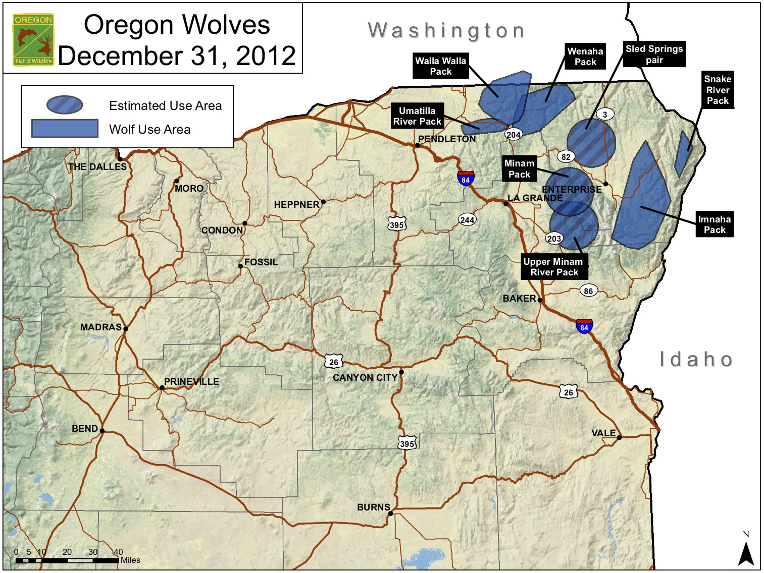 FileOregon Wolf Population Mapjpg Wikimedia Commons - Maps of the location of wolves in the us