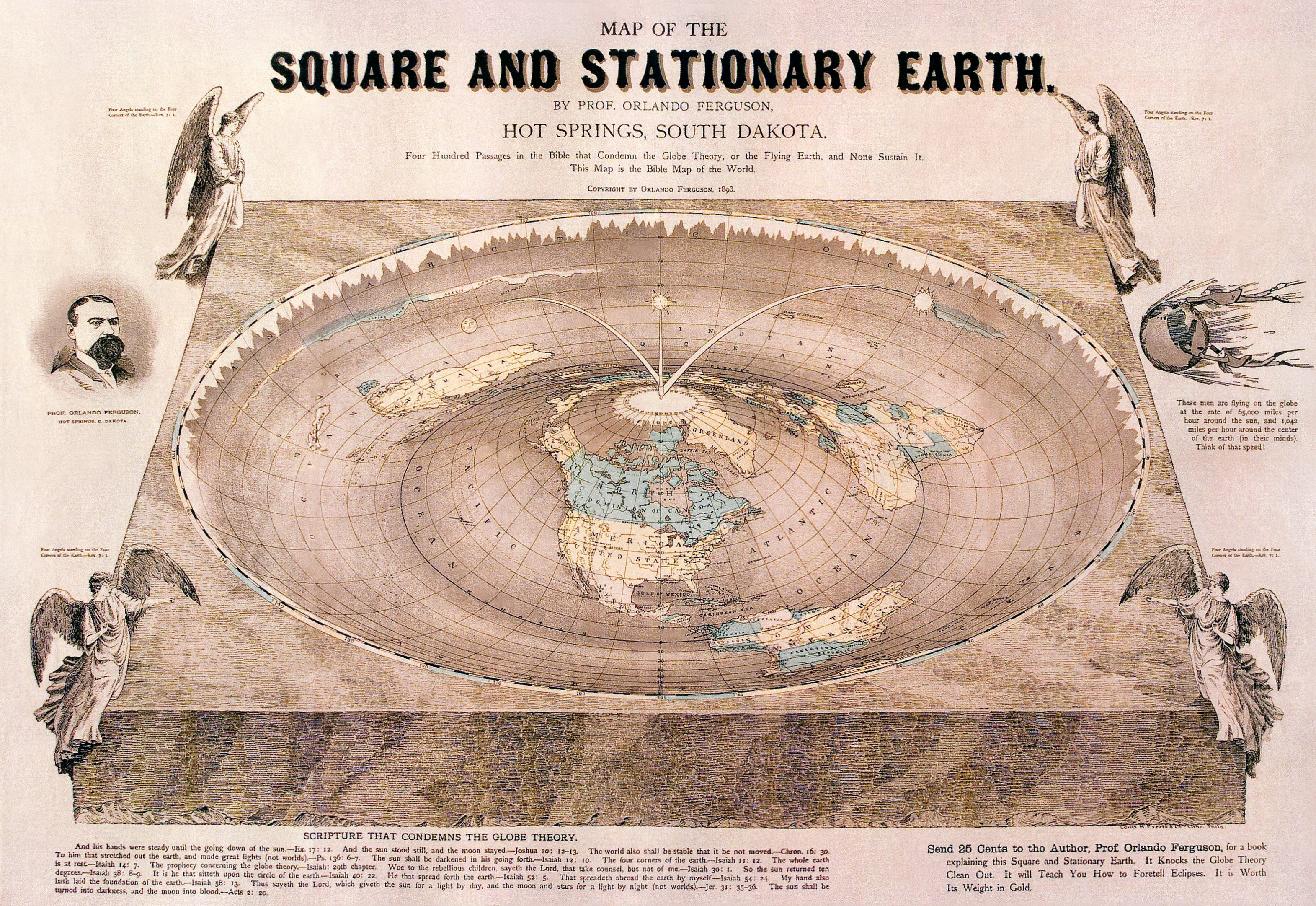 1892 Map Of The World.File Orlando Ferguson Flat Earth Map Edit Jpg Wikipedia