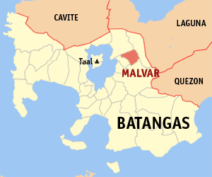 Map of Batangas showing the location of Malvar