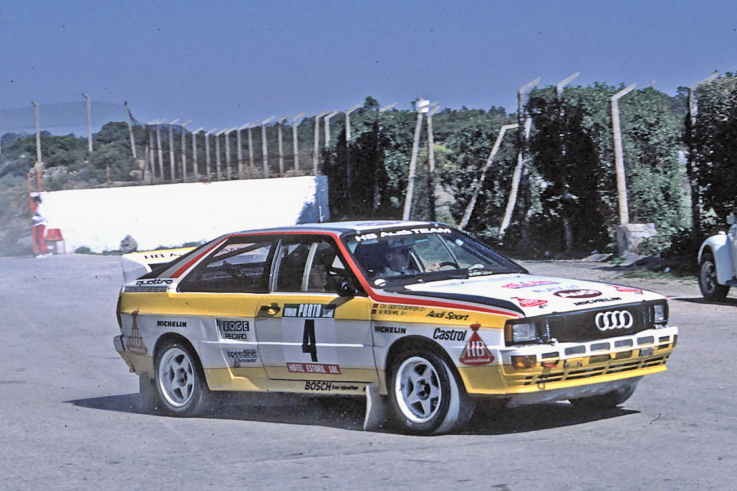 Walter R hrl driving a Quattro A2 at the 1984 Rally Portugal.