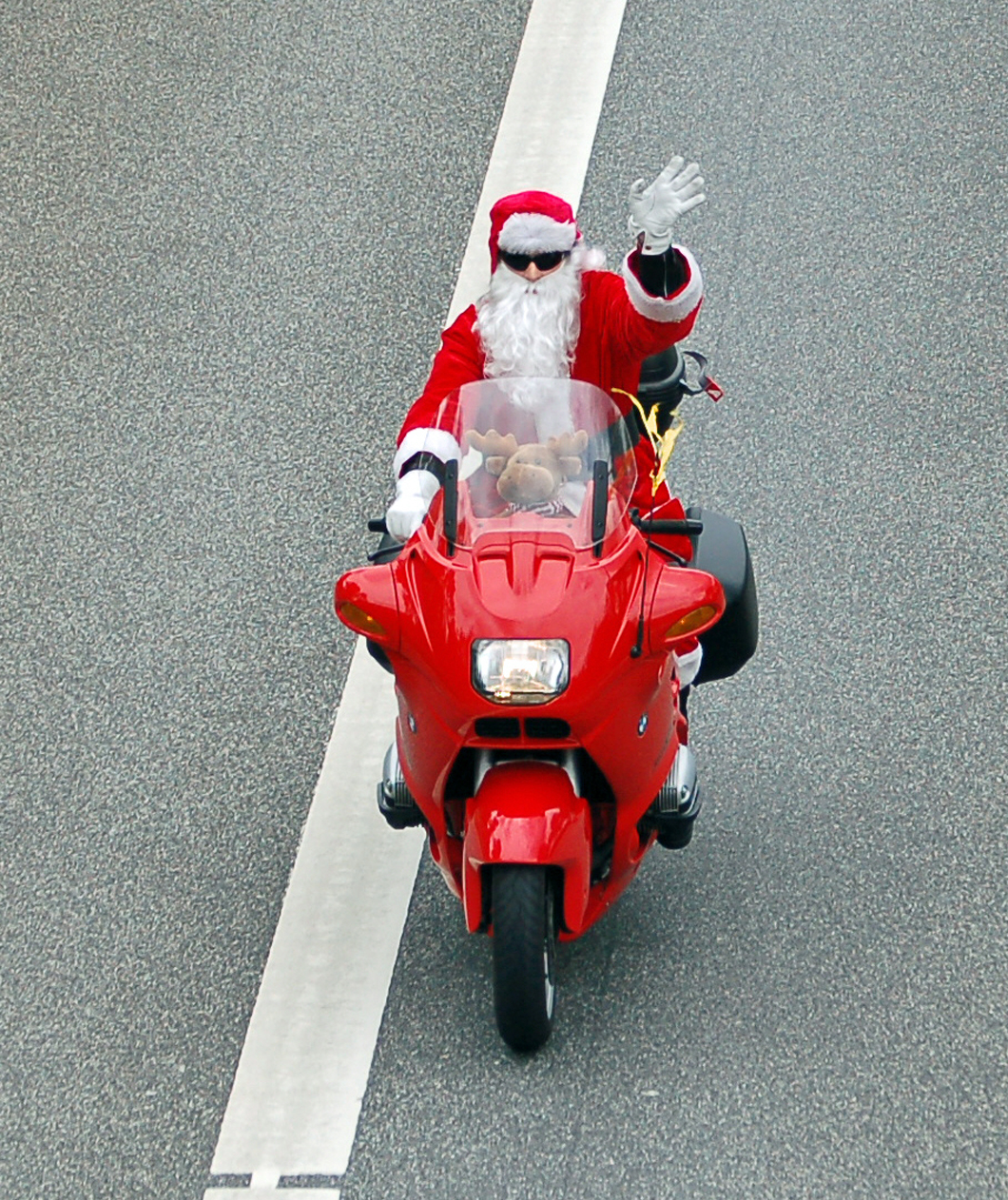 Santa Claus on a Motorcycle!