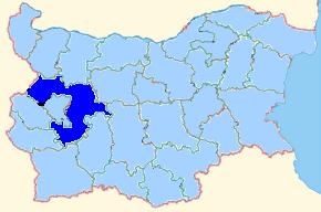 Map of Bulgaria indicating Sofia Province