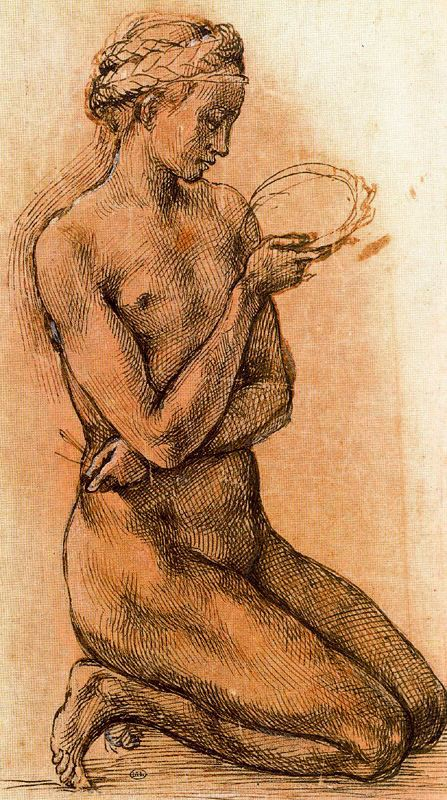 Study of a Kneeling Nude Girl for The Entombment