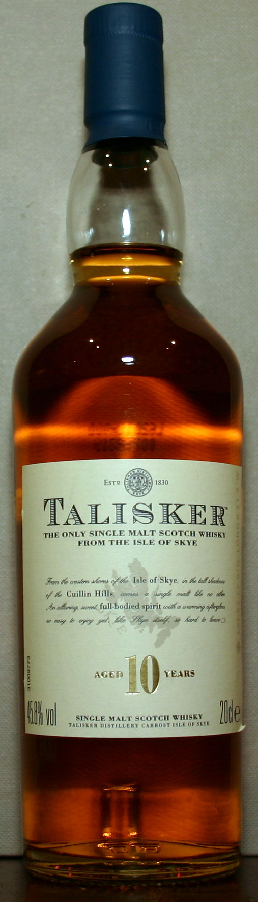 A bottle of Scotch whisky
