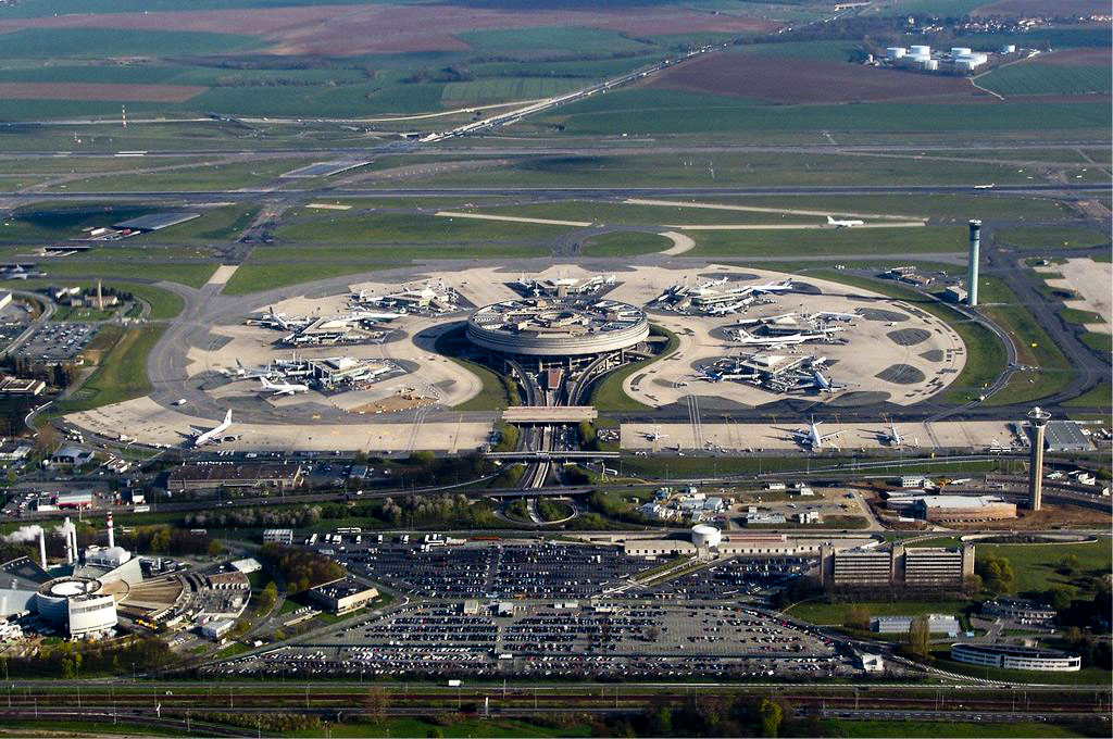 Airial view of Paris's CDG airport