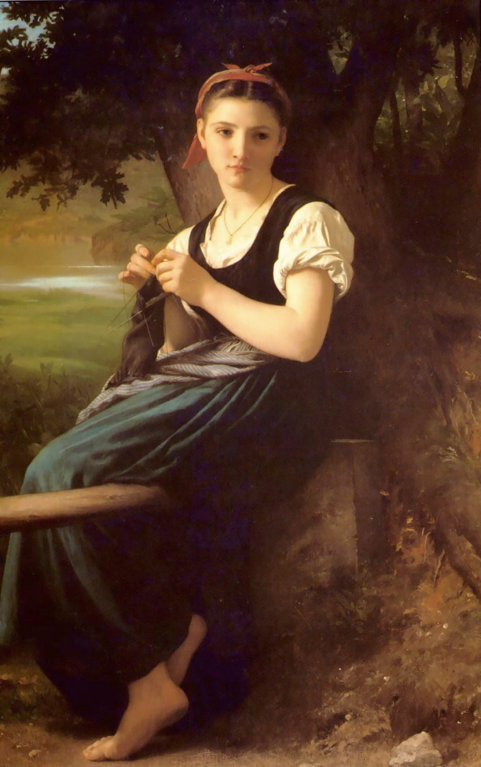 The Knitting Woman by William Adolphe Bouguereau