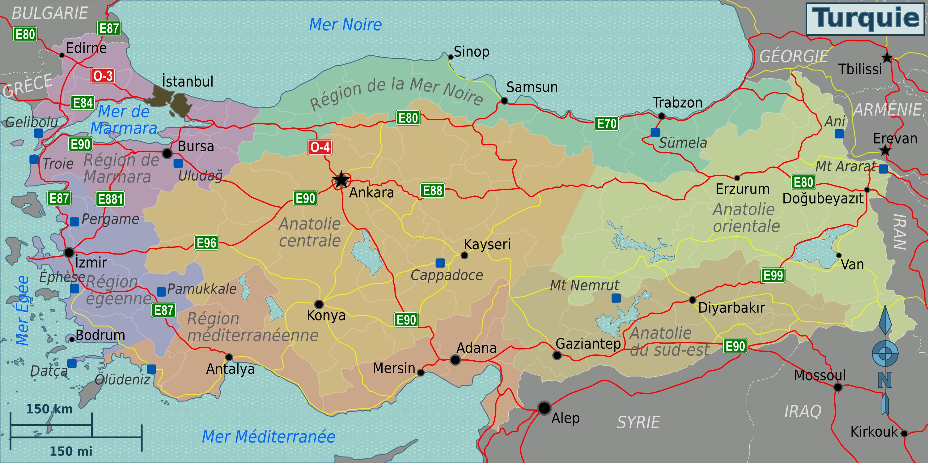 Kayseri Map%0A File Turkey regions map  fr  png