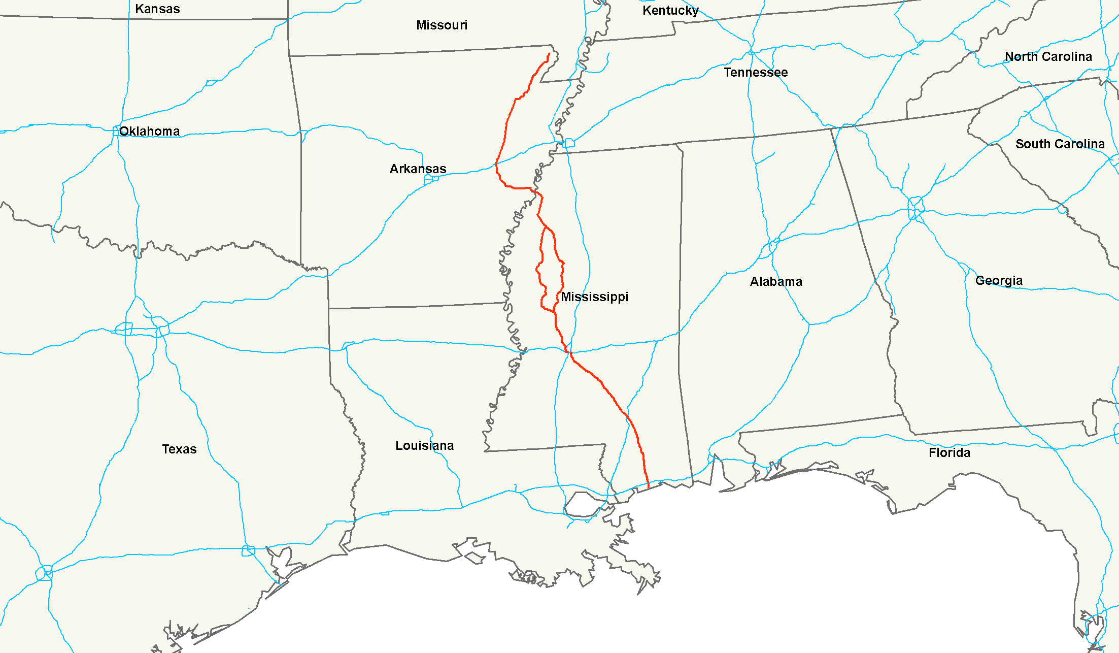 U.S. Route 49 - Wikipedia on bay saint louis ms map, ms city map, ms map towns highways, ms la map, nesbit ms map, mississippi map, morton ms map, ms state map, memphis ms map, clarksdale ms map, ms county map, ms st map, rand mcnally missouri state map, town of hempstead ny map, jayess ms map, brookhaven ms map, stoneville ms map, miss map, kentucky county map, long beach ms zoning map,