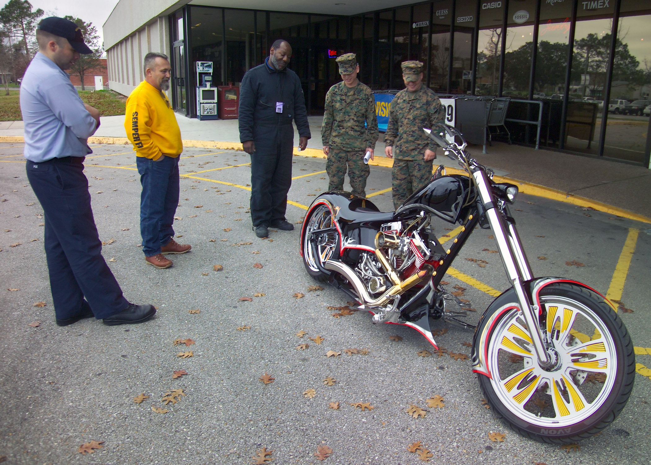 ... the Marine Corps Tribute Bike on display outside the Navy Exchange.jpg