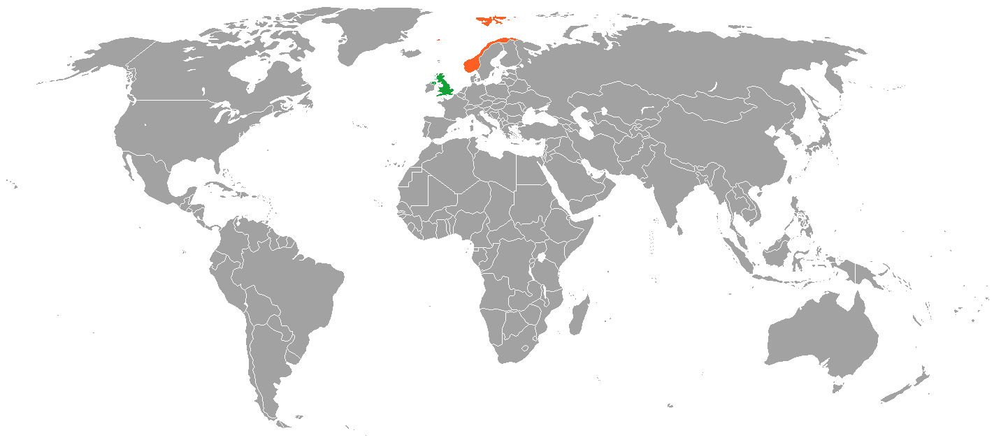 norway uk map