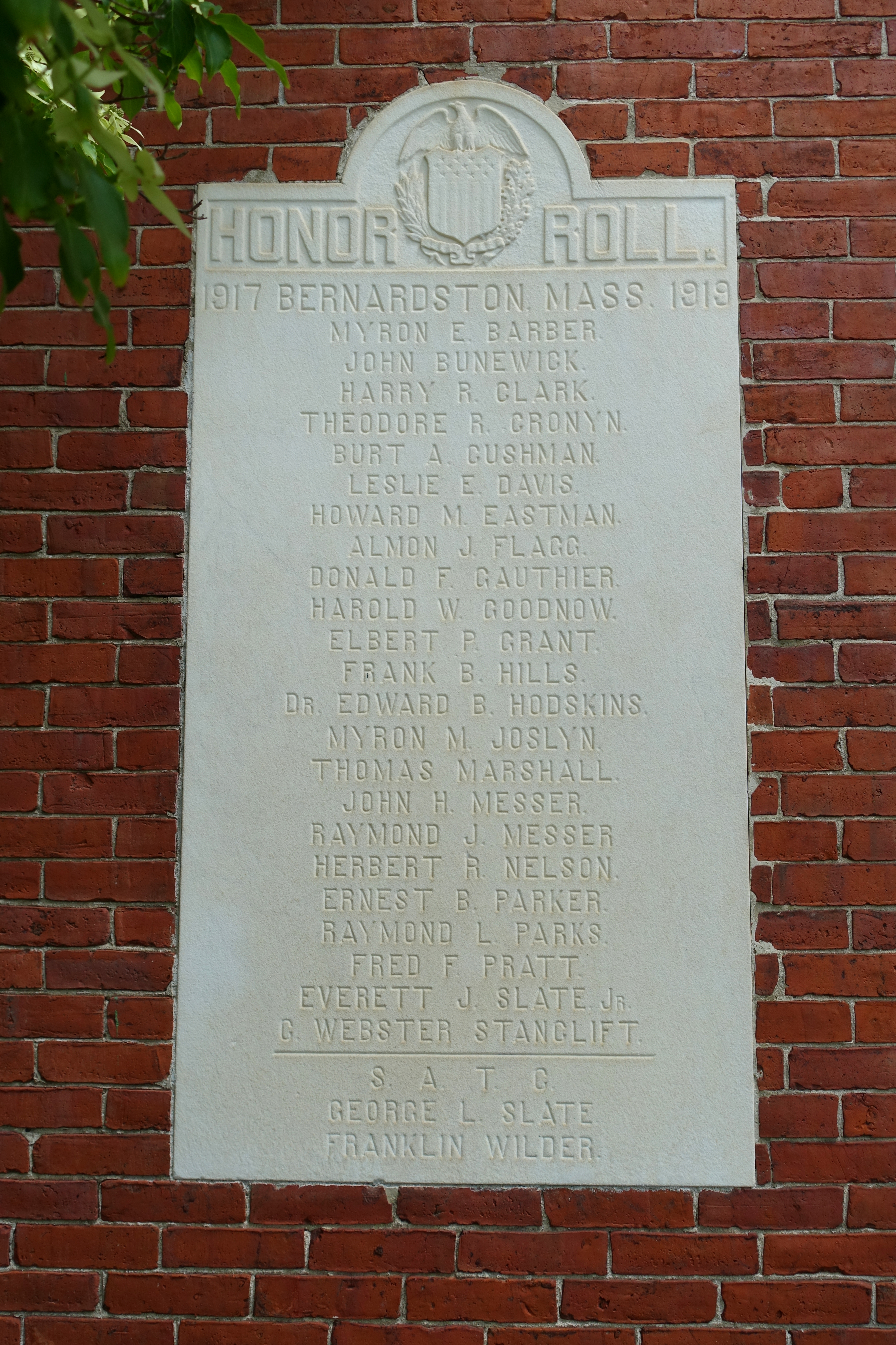 File World War I Memorial Cushman Library Bernardston