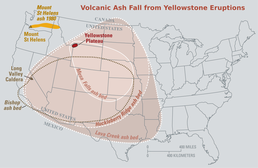 Past Yellowstone Eruptions