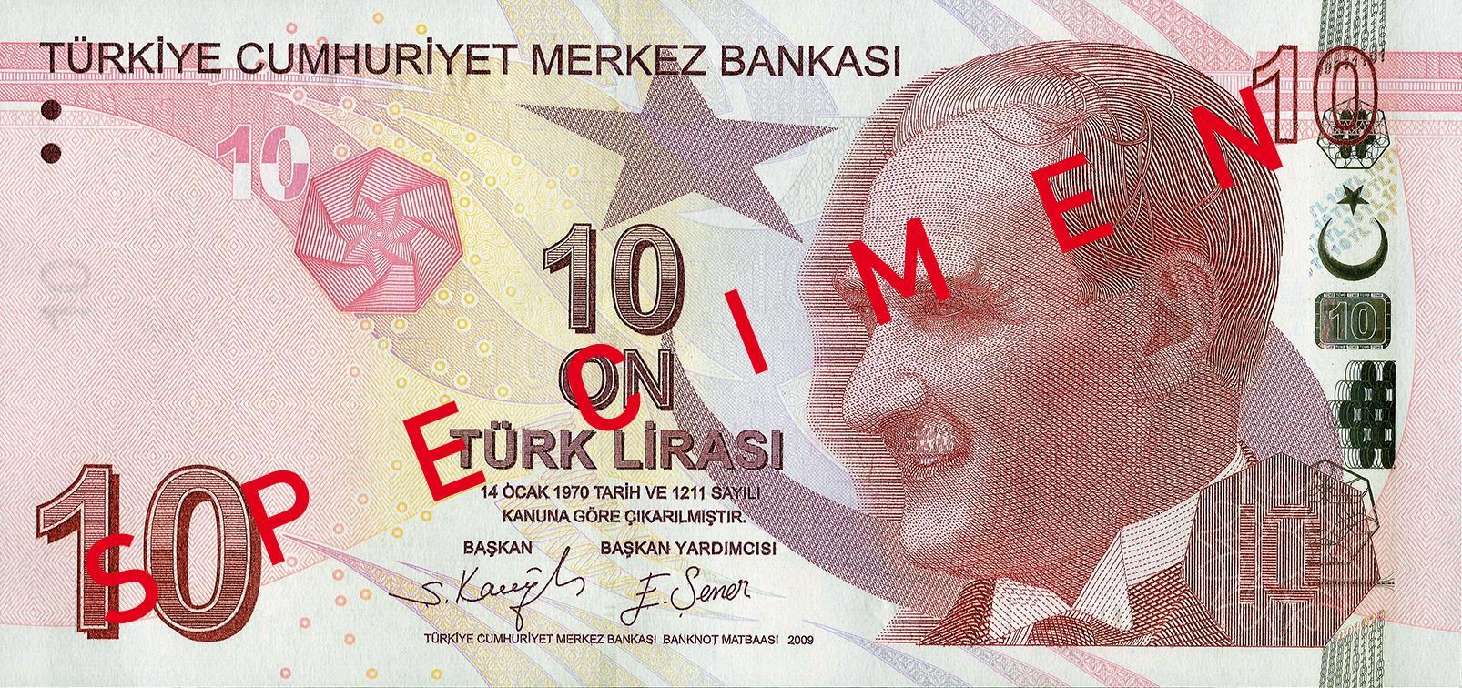 10 Türk Lirası front