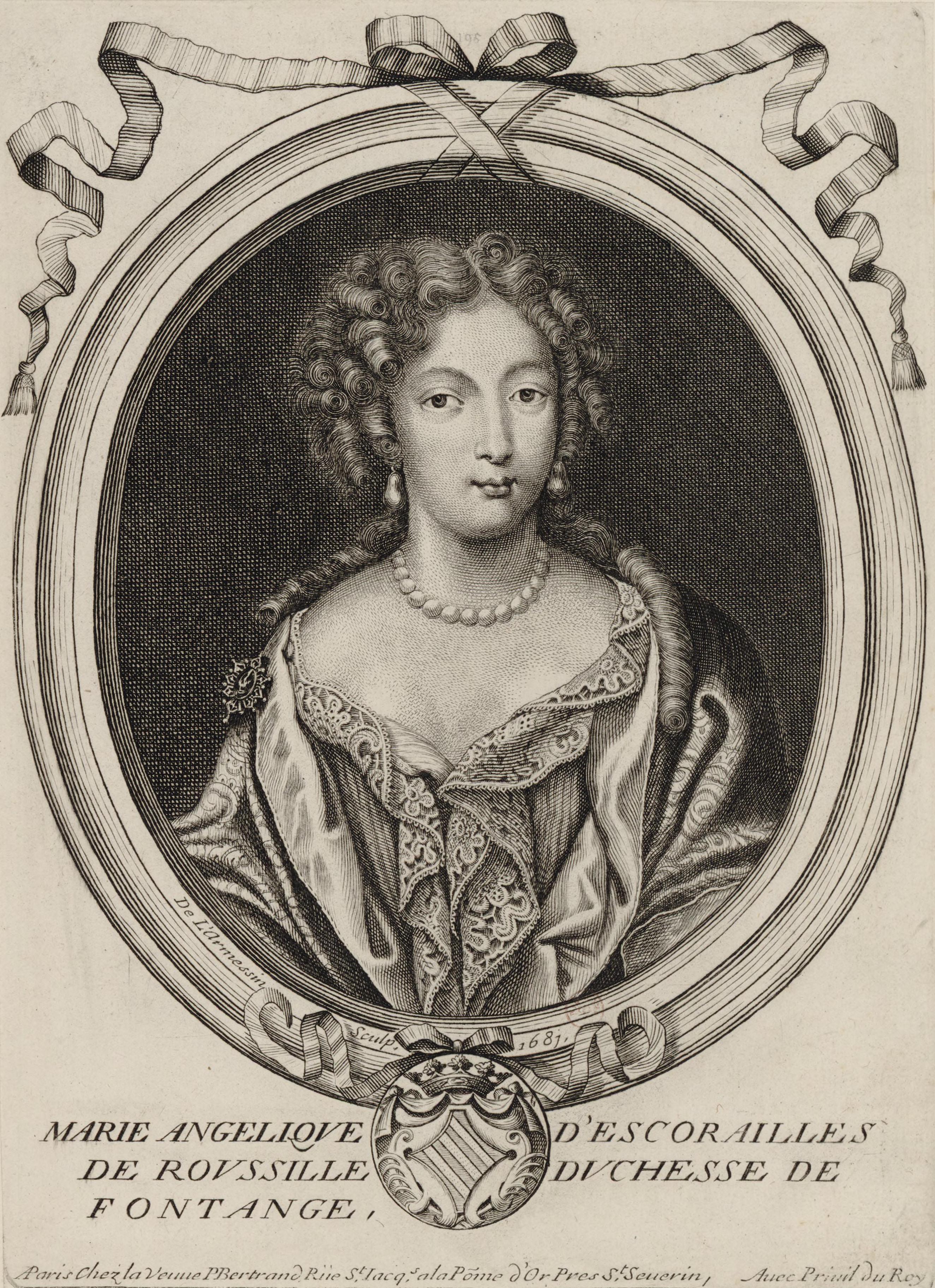 Файл:1681 Engraving of Marie Angélique de Scorailles, Duchess of Fontanges  (Nicolas II