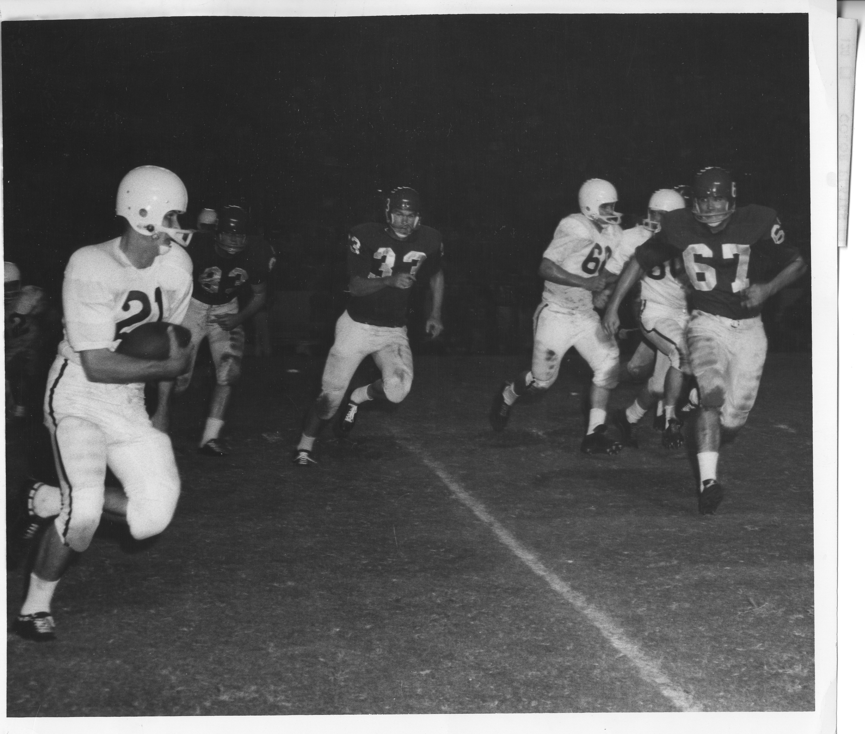 1958 Houston Cougars football vs Texas A&M Aggies.jpg English: The 1958 Houston Cougars football team face off against the Texas A&M Aggies