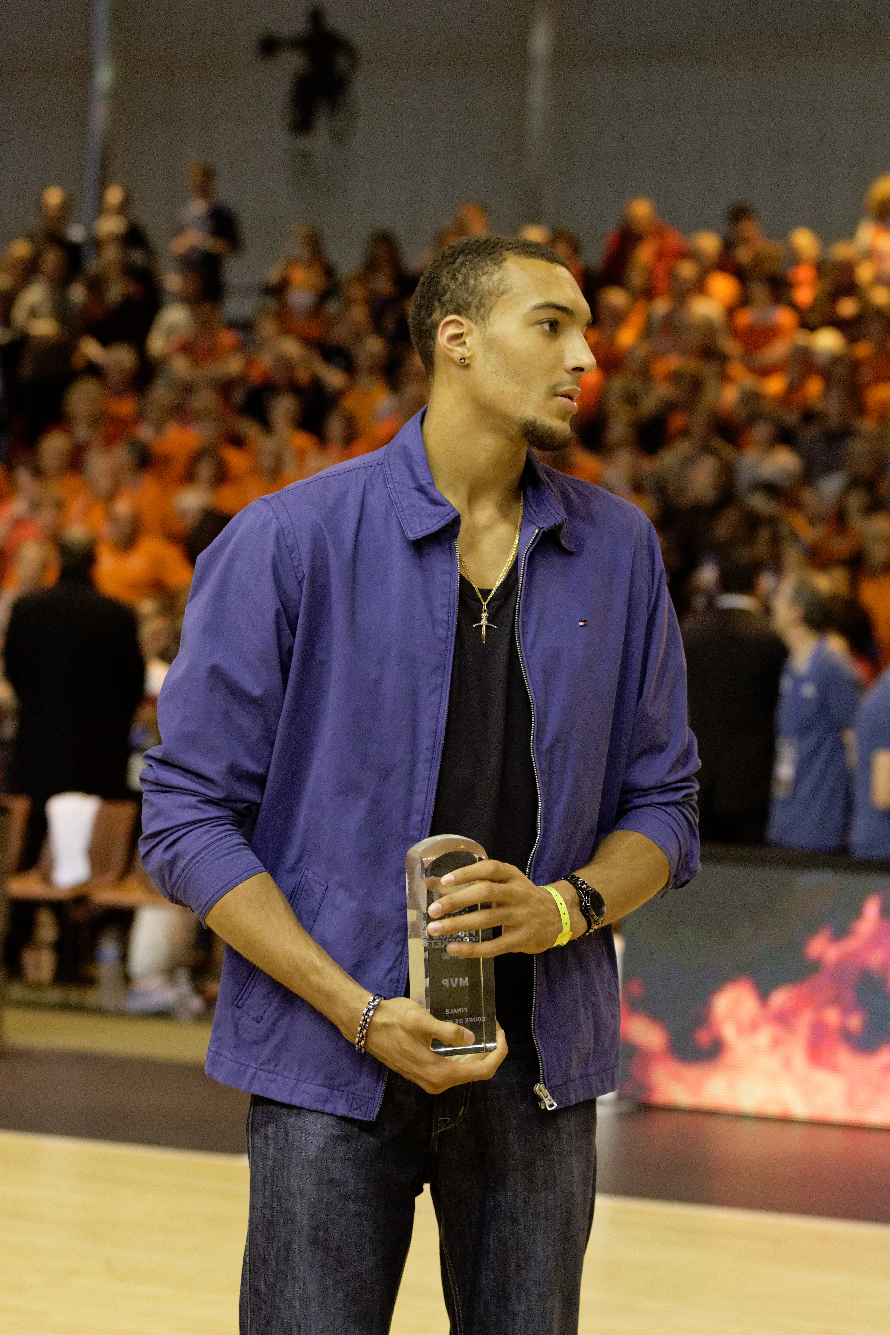The 26-year old son of father (?) and mother(?) Rudy Gobert in 2018 photo. Rudy Gobert earned a  million dollar salary - leaving the net worth at 2.2 million in 2018