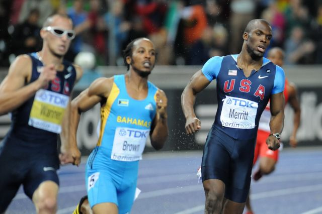 LaShawn Merritt is pictured with two other runners.